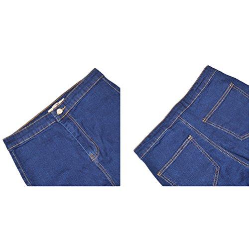 Donna Pantaloni Blue Comode Zhhlaixing Hole For Slim Boyfriend Distressed Dark Washed Taglie Strappati Jean Skinny Jeans BqOA8