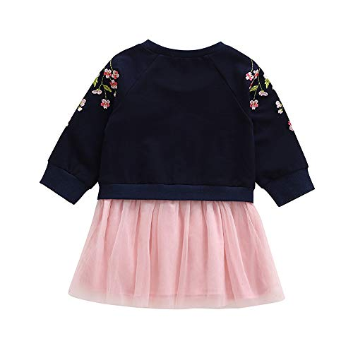 Baby Toddler Girls Princess Dress Fall Winter Clothes Kid Cherry Blossoms Embroidery Splicing Dress 1-4 Years Old (2-3 Years Old, -