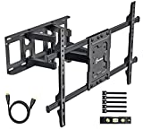 TV Wall Mount Bracket fits to Most 37-70 inch LED,LCD,OLED Flat Panel TVs, Tilt Full Motion Swivel Articulating Arms, Bring Perfect Viewing Angle, Max VESA 600X400, 132lbs Loading-by EVERVIEW, Black