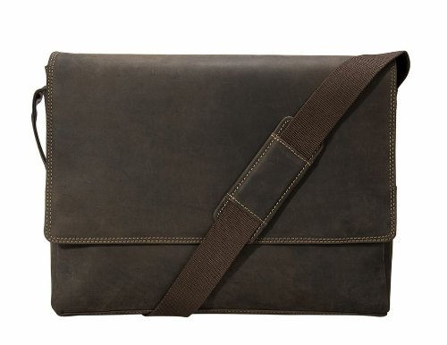 Visconti 18516 Oil Brown Distressed Leather Messenger Bag – 3/4 Flapover (Oil Brown), Bags Central