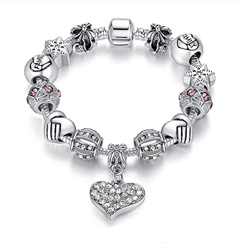 MUERDOU Mother Charms Bracelet for Girls and Women Murano Glass Beads Butterfly Flower Charms Amethyst Bracelets (Family Charm Bracelet) (Charm Bracelet For Child)