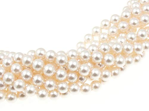 - 100 Swarovski Crystal Pearls 4mm Round Beads (5810). 16 Inch Loose Strand (Light Cream Rose)