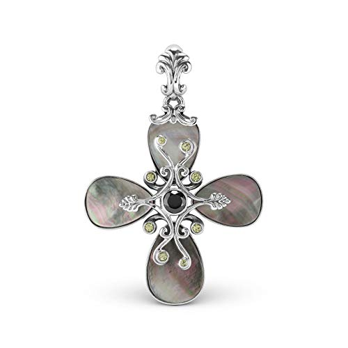 - Carolyn Pollack Sterling Silver Gray Mother of Pearl Cross Pendant Enhancer