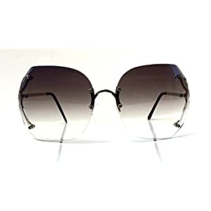 70's Vintage Rimless Square Oversized Large Lenses Women Sunglasses (Grey)