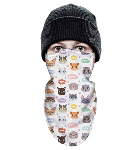 Shadfyvgf Mens Womens Ski Face Mask Colourful Cats Face Food Fish Meow Paw Balaclava Wind-Resistant Cold Weather