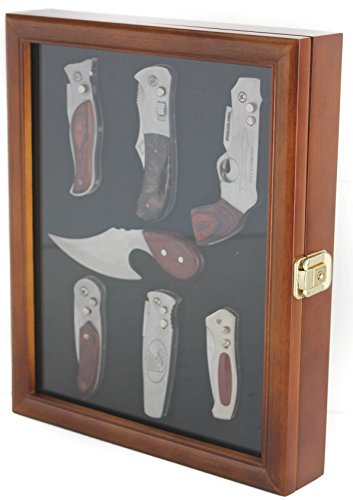 Knife display cases knife display case shadow box with glass door wall mountable walnut finish planetlyrics Images
