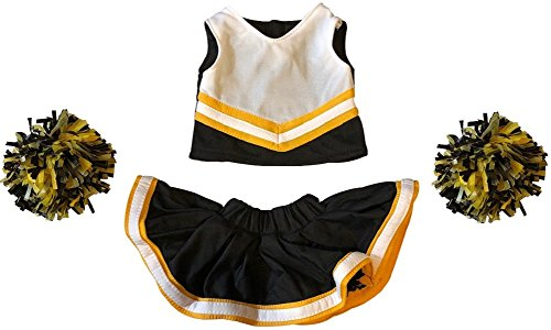 Cheerleader Outfit Teddy Bear Clothes Fit 15 inch Build-A-Bear, Vermont Teddy Bears, American Girl Doll and Make Your Own Stuffed Animals (Black and Gold) ()