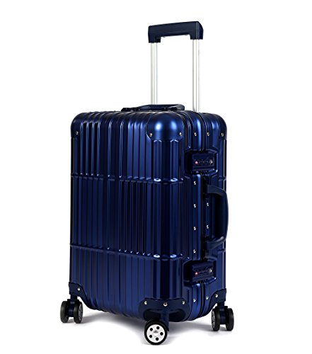 Cloud 9 - All Aluminum Luxury Hard Case Different Sizes to Choose From (20'',24'',28'') Durable with 360 Degree 4 Wheel Spinner TSA Approved Single Luggage Only by Newbee Fashion
