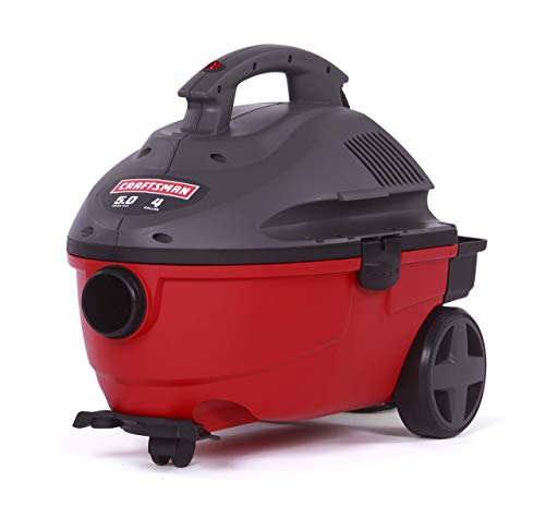 CRAFTSMAN 17612 4 Gallon 5.0 Peak HP Wet/Dry Vac, Portable Shop Vacuum with Attachments (Renewed)