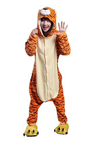 Honeystore Adult Unisex Tiger Pajama Halloween Costume Cosplay Animal One Piece M (Tiger Costume Adults)