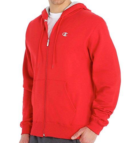 Champion Men's Full-zip Eco Fleece Jacket Hoodie, Crimson, Medium