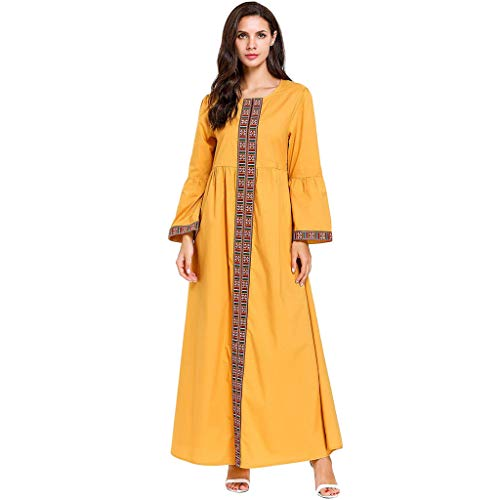 HYIRI Muslim Women's Long Maxi Dress Robe Spliced Abaya Islamic Dubai Kaftan Ramadan Yellow -