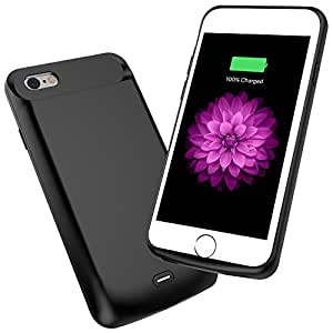 iPhone 6/6s Battery Case, EUROB 5000mAh Portable Charging Case 200% Extra Battery Rechargeable Power Bank External Battery Pack Rubber Protective Charger Case for iPhone 6/6s(4.7inch) (Black)