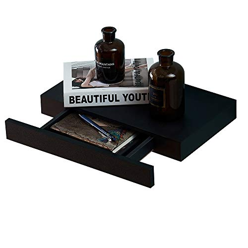 O&K FURNITURE Modern Floating Wall Display Shelf with Storage Drawer, Wall Mounted Shelf for Home and Office, Black