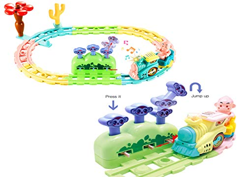 YGJT Train Set Toys Battery Operated Train Railway Track Toy for Baby Kids, Electric Toy Trains with Lights and Sounds Monkey Pop-Up Play for 1 2 3 4 Old Toddler Boys Girls Gifts - Electric Train Railway Set