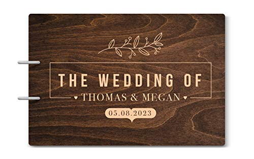 Engraved Book Guest (Custom Engraved Wooden Rustic Wedding Guest Book - Personalized Monogrammed - 09 Chocolate)