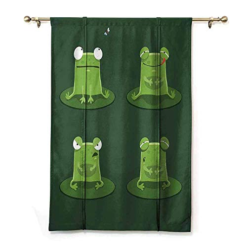 Decor Curtains Funny Funny Muzzy Frog on Lily Pad in Pond Hunting Tasty Fly Expressions Cartoon Animal Thermal Insulated Block Out Sunlight Shade W35 xL64 Hunter Green ()