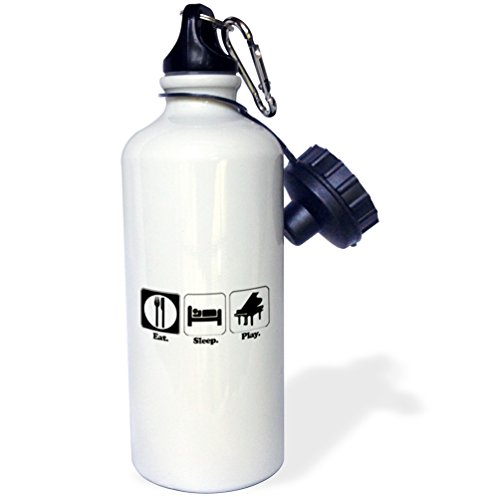 3dRose wb_116969_1 Funny Hobby Lifestyle Design Eat Sleep Play Piano Sports Water Bottle, 21 oz, White