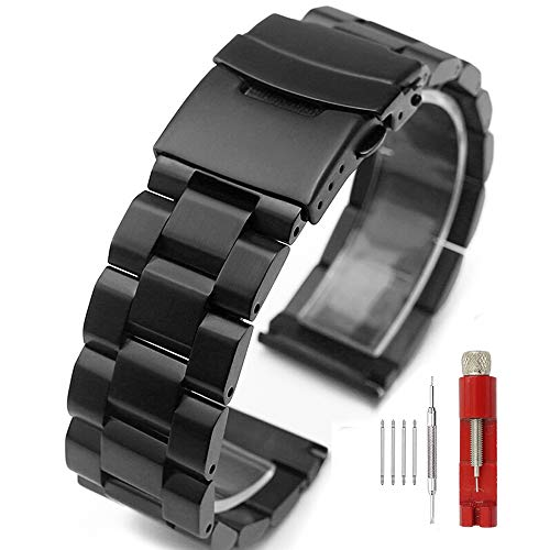 (Black Stainless Steel Watch Bands Brushed Finish Watch Strap 18mm/20mm/22mm/24mm Double Buckle Bracelet (22mm))