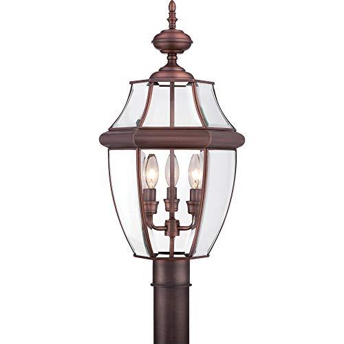 Quoizel NY9043AC Newbury Outdoor Post Lantern Pier Mount Lighting, 3-Light, 180 Watts, Aged Copper (23