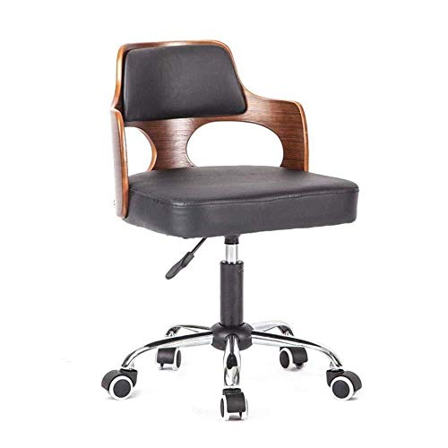 Business Chair, PU Wear Resistant Easy to Clean Executive Chair Hotel Chair Club Office Comfortable Chair (Color : Black)