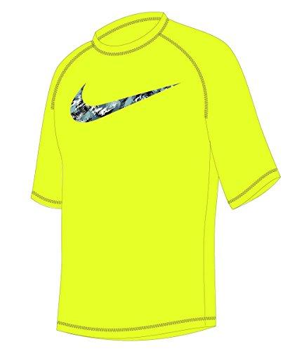 Nike Boy's Watercamo Short Sleeve Rash Guard M Volt (Boys Nike Swim Shirts)