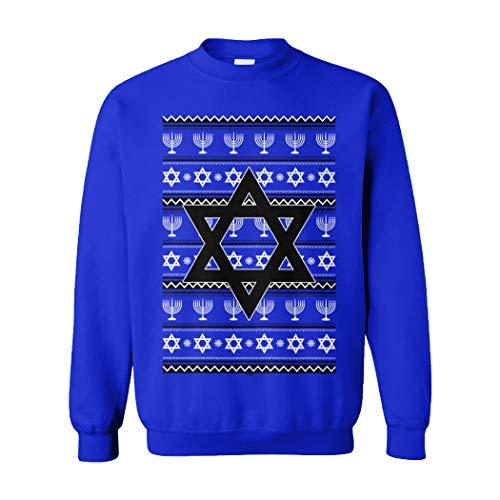 Star of David - Jewish Menorah Hanukkah Ugly Unisex Crewneck Sweatshirt (Royal, XX-Large) (Star Christmas Sweater David Of)