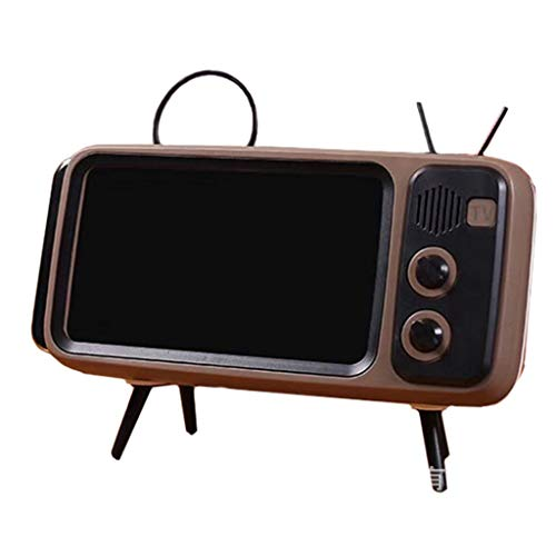 WHER Wireless Bluetooth Speakers with Vintage Retro TV Style and Portable Mobile Phone Dock Holder,3D Stereo Sound TF Card Slot USB Port Compatible for iPhone/Android