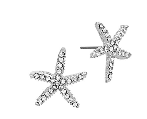 White Gold Starfish Earrings (Hypoallergenic Surgical Steel Rhodium Plated Starfish Earrings With Clear Cubic Zirconia Stones)