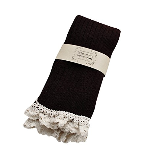 MIOIM Womens Lace Crochet Trim Over The Knee Stockings Boot Socks Cotton Leg Warmers (How To Wear Thigh High Boots)
