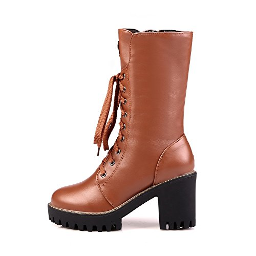 Heels Chains PU Brown Solid Closed High Boots AmoonyFashion Womens Toe Round 8BPaq7n