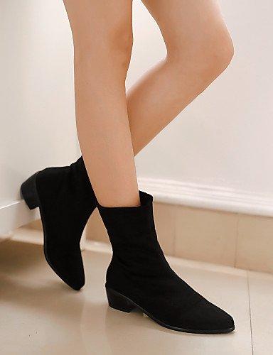 Xzz 5 Vellón Negro 5 A Mujer Eu37 5 Black Zapatos Uk8 Punta Black Bajo Eu42 5 Cn37 us10 7 Redonda Vestido Moda La Botas us6 Casual Tacón Uk4 5 Cn43 De 6w6qr