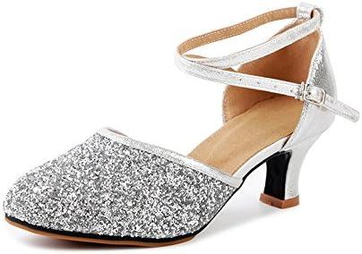 d48f0b511d60d OCHENTA Women's Sequined Leather Pointed Toe Kitten Heel Latin ...