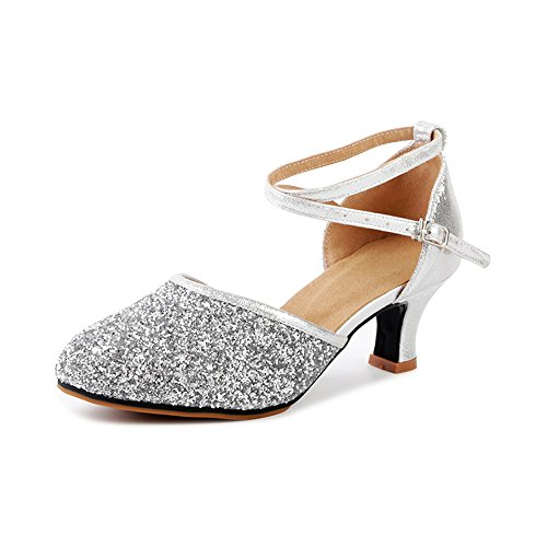 Golden Cross Chart - OCHENTA Women's Sequined Leather Pointed Toe Kitten Heel Latin Ballroom Dance Shoes Rubber Silver Tag 42 - US 10