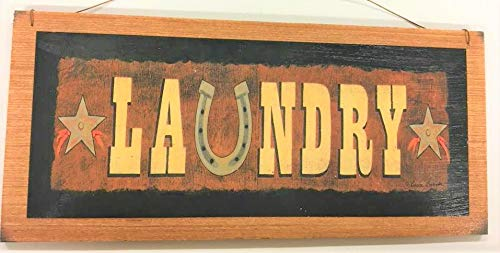Kitchen Decor Horse (Laundry Room Country Western Wooden Wall Art Sign Horse Shoe)
