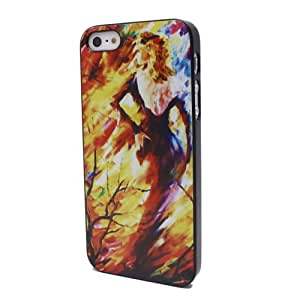 Watercolor Girl Black Side Hard Back Shell Case Cover for iPhone 5