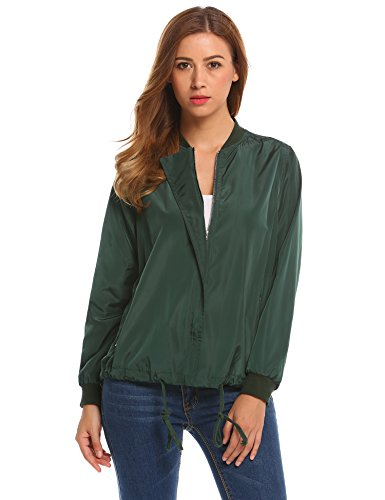 Beyove Womens Classic Quilted Jacket Short Bomber Jacket Coat Army Green - Hunting Bomber Style Jacket
