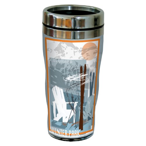 Tree-Free Greetings sg23088 Graphic Winter Park Ski Design by Mike Rangner Stainless Steel Sip 'N Go Travel Tumbler, 16-Ounce, Multicolored