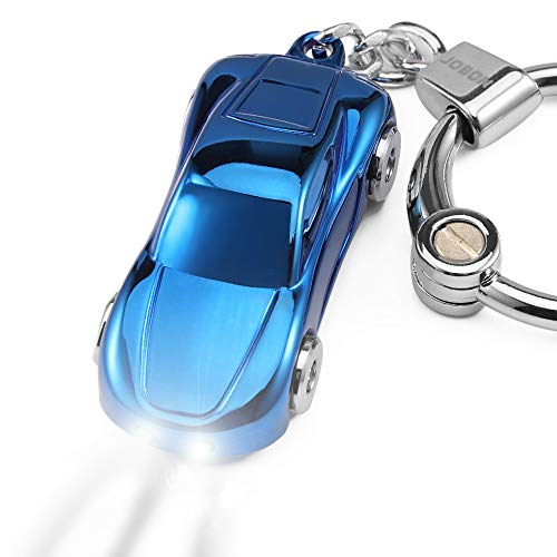 Key Chain Flashlight, Jobon Zinc Alloy Car Keychain with 2 Modes LED Light, Key Rings for Men, Women, Car Decorations, Ideal Gifts (Blue)