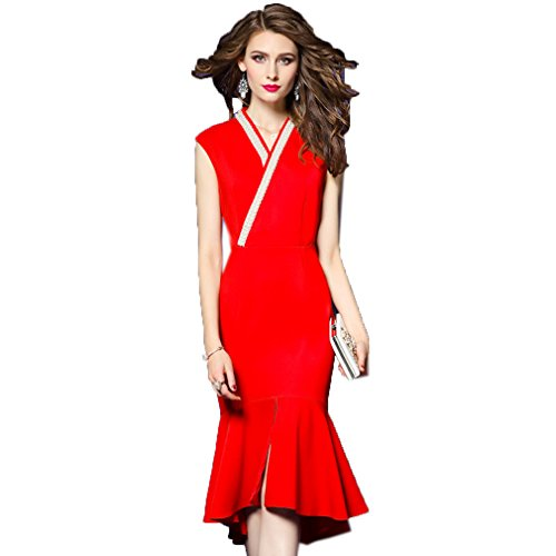 Dress cotyledon Neck Dresses Mermaid Women`s Red Elegant Sleeveless V Gown SAq7AxwH