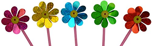 Mini Daisy Sparkle Assorted Pinwheels 5pcs - Excellent Home Decor - Indoor & Outdoor