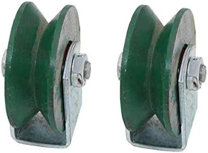 2 V溝キャスターホイール、ヘビーデューティホイール、鋳鉄方向性シーブ、トラックホイール、ダブルベアリング、産業機械用、スライドドア、ローリングゲート、ワイヤーロープレール(95mm)