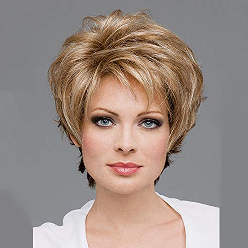 Beauty : US Lady Women Blonde With Short Length Cascaded Layers Synthetic Wig Office Lady