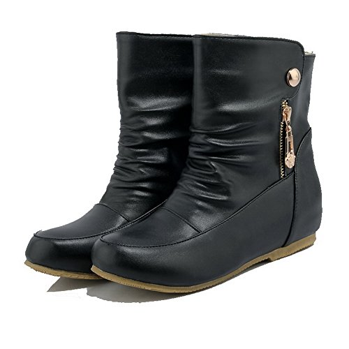 Boots Pull Solid PU Low top Low Black para mujer on Allhqfashion Heels YRqwvxv