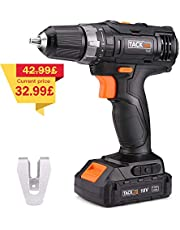 Cordless Drill, Tacklife PCD06C Drills 30Nm 18V 1500mAh Li-on 2-Speed Max Torque, 19+1 Position with LED, 10mm Keyless Chuck Compact Battery Cell and Charger Included