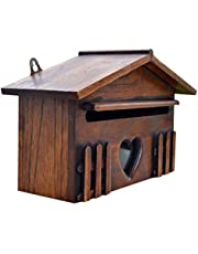 VORCOOL Wooden House Mailbox Wooden Post Box Wooden Suggestion Box Yard Mailbox Waterproof Mailbox House Letter Boxes for Company Home