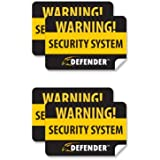 Defender SP100-ST 4 Pack of Window Warning Stickers with UV Fade Protection (Black)