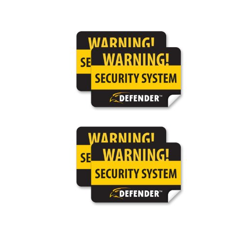 (Defender SP100-ST 4 Pack of Window Warning Stickers with UV Fade Protection (Black))