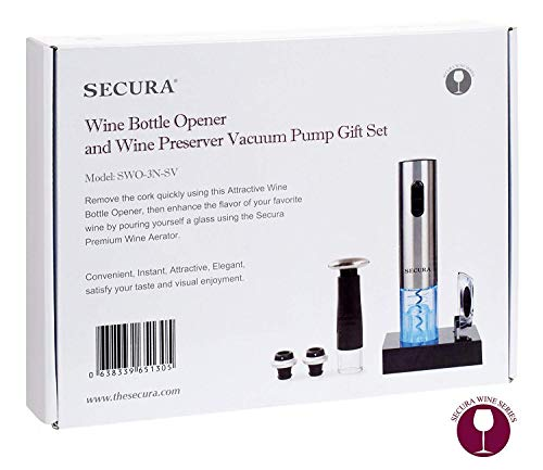 Secura Deluxe Wine Lovers Gift Set | 7-Piece Wine Accessories Set | Electric Wine Opener, Wine Foil Cutter, Wine Saver Vacuum Pump + 2 Wine Stoppers by Secura (Image #6)