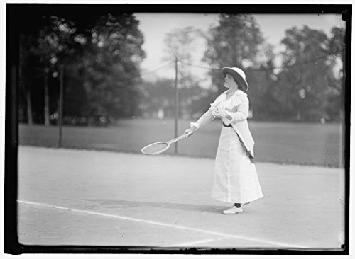 rapped Framed Print of Morehead, Mrs. J. Upshur. Playing in Tennis Tournament 1913 Harris & Ewing 77a ()